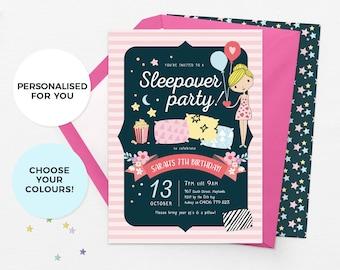 Sleepover invitation printable, Slumber party invites, Slumber party invitations, Sleepover birthday invitations, Pajama party invite pyjama