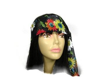 Boho Daisy Hair Scarves Daisy Hair Scarf Floral Hair Scarves Floral Hair Scarf Neck Scarves Floral Neck Scarf Black Floral Boho Scarves