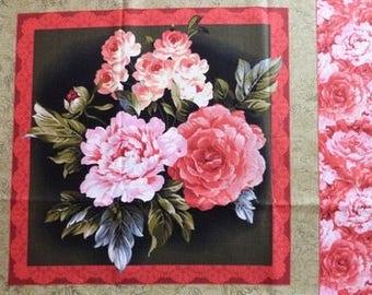 Tissu patchwork/décoration 1 vignette BOUQUET DE FLEURS