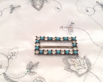 Authentic Vintage Brass RHINESTONE And Faux TURQUOISE BUCKLE, Collection