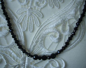 Black crystal 2 row necklace with magnetic clasp