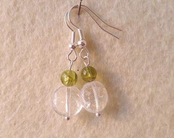 Energy of peridot and rock crystal earrings
