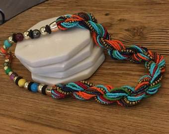 Beaded necklace; Colorful beaded necklace; Polished beaded necklace; Colorful seed beads necklace; Beaded jewelry