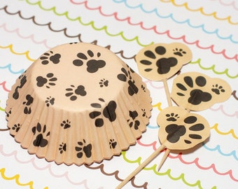 Paws Cupcake Liners and Picks Set