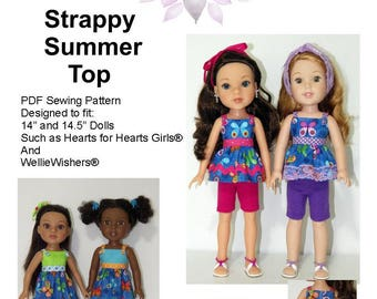"""Strappy Summer Top PDF Pattern for 14"""" and 14.5"""" Dolls Such as Hearts for Hearts Girls and WellieWishers"""