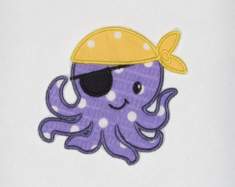 "Embroidered Iron On Applique  ""Pirate Octopus"""