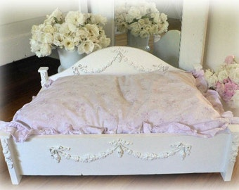 Shabby wooden Pet Bed Handcrafted Chic For Small Dog Or Cat