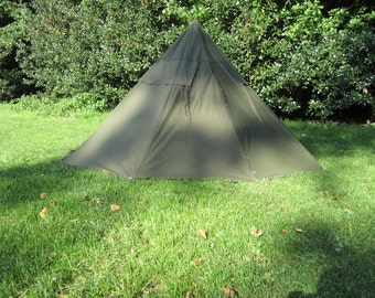 Vintage Polish army surplus canvas Lavvu or teepee tent with poles and pegs