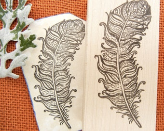 Feather Rubber Stamp - Handmade by BlossomStamps