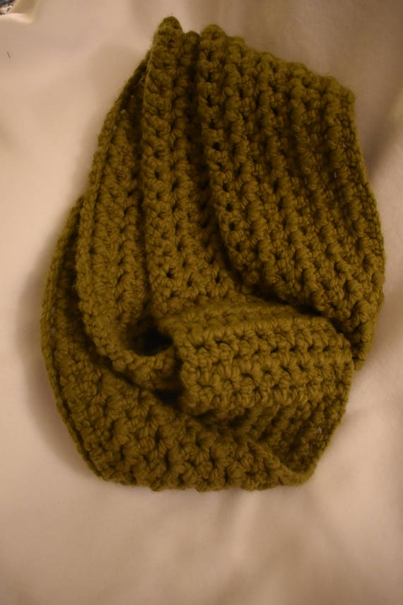 Etherial Sage Crochet Infinity Scarf -- Cozy and Soft Green Scarf