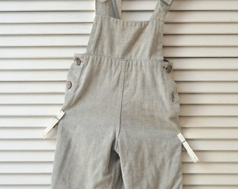 Vintage Children's Baby Toddlers Overalls Jumpsuit/40s 50s Reversible Distressed Faded Blue & Gingham Check Theater Costume boys kids girls