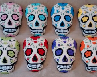Handmade Sugar Skull Accent Pillow - 8 Colors