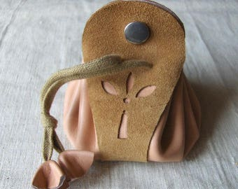 Coin purse is pink Leather - Brown made hand