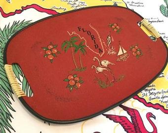 Vintage Florida serving tray orange 1960s kitschy flamingos and palm trees hostess gift souvenir