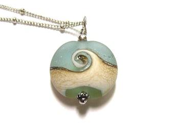 Ocean Wave Necklace, Beach Jewelry, Sea Glass Pendant, Aqua Lampwork Glass, Sterling Silver, Ocean Jewelry, Satelitte Chain