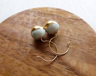 Gold Dip Ball Hook Earrings