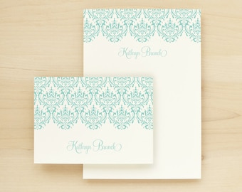DAMASK Custom Stationery + Notepad Bundle - Custom Stationary Notecards Personalized - Feminine Pretty Lace Cute