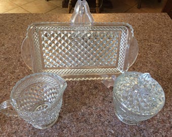 Vtg Anchor and Hocking Wexford diamond pattern sugar and creamer and tray