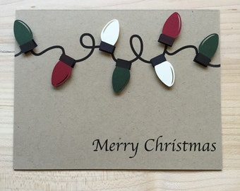 Merry Christmas Light Card, Holiday Greeting Card