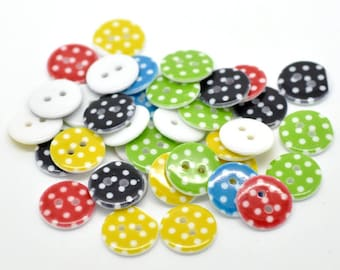 10 buttons - round 15 mm - 2 holes - multicolored polka dots