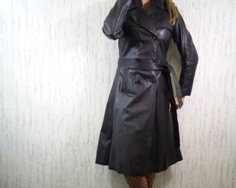 Vintage French Leather Trench Coat