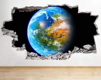 Earth Space Planet Vinyl Poster Livingroom Bedroom Wall Decal 3D Art Stickers[Large (92x52)]
