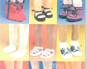 Vogue 7329 728 18 Inch Doll Footwear Pattern Linda Carr Sandles Shoes Slippers Boots Clogs Sneakers Designer Sewing Pattern UNCUT