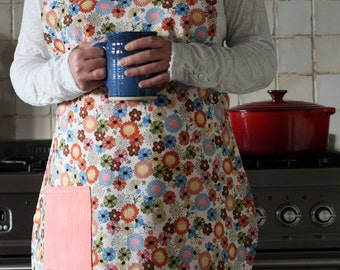 Womens reversible apron/Tunic apron with pocket/Old fashioned kitchen apron/Smock/ Gift for Housewarming/Hostess/Foodie