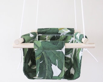Green Leaves Fabric Baby and Toddler Swing - Green Exterior Fabric and Wood Swing - Outdoor Leaves Fabric Water Repellent