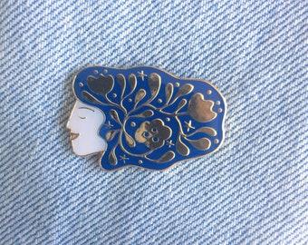 Cosmic Hair Girl Pin