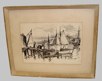 Emile Gruppe Fisherman's Wharf Gloucester Harbor Pencil Drawing