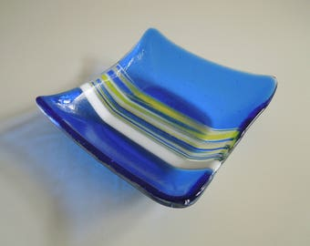 Sunlite Blue fused glass dish