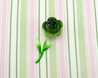 Vintage enamel flower brooch - green and white