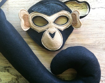 Monkey Costume - Felt Animal Mask - Wool or Eco Felt - Mask and Tail Costume Gift Set