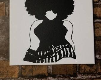 "Big girls rock"" vinyl on canvas prop up/wall hanging"