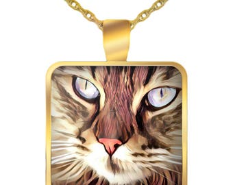 Cat Necklace - Cat Face - Cat Eyes - Cat Jewelry - Gold Plated Pendant Necklace - Cat Lover Gift - Gift For Her