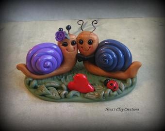 Wedding Cake Topper, Custom Polymer Clay Love Snails Wedding/Anniversary Keepsake