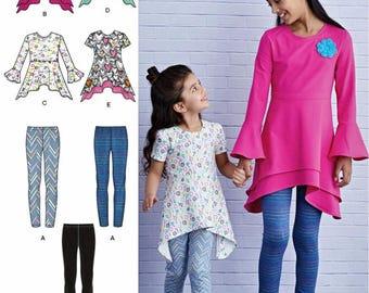 Girls' Tunic Top and Leggings Pattern, Girls' Tunic Top Pattern, Girls' Leggings Pattern, Simplicity Sewing Pattern 8430