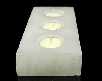 Selenite Triple Candle Holder (1,400 grams) Natural White Selenite Crystal Specimen #SEL12