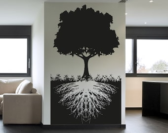 Vinyl Wall Decal Sticker Tree With Roots 5128s