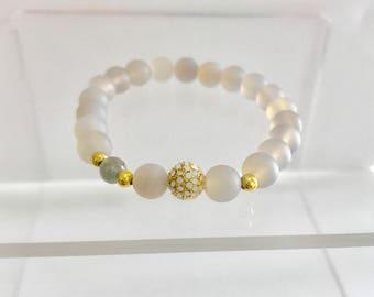 woman's bracelet,gemstone bracelet ,grey bracelet ,agate, gift, womans gift
