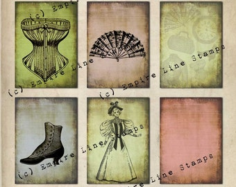 Antique Style Backgrounds Instant Download Ladies Fashions & Accessories
