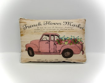 French Flower Market Truck  | Mothers Day Gift | Chevy Truck tuck | Pink truck pillow | Farmhouse Pick up | Flower Delivery Truck
