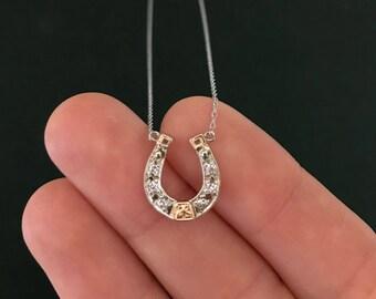 White Gold and Diamond Horseshoe Pendant