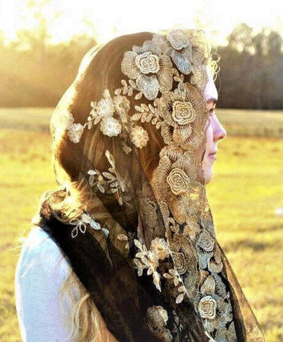 Black + Gold Infinity Veil | Catholic Veil Catholic Chapel Veil Mantilla Catholic Mantilla Church Veil Mass Veil Robin Nest Lane Black Veil