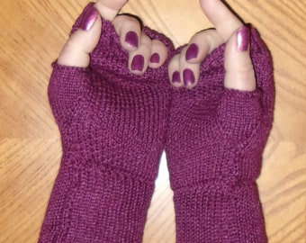 Merino wool and silk fingerless gloves, wrist warmers