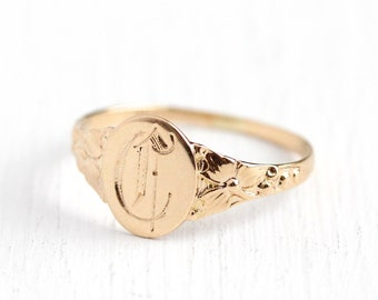 Antique C Signet Ring - Initial C Art Nouveau 10k Rosy Yellow Gold Oval Band - Vintage Edwardian 1900s Size 4 3/4 Fine Flower Clover Jewelry