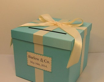 Wedding  Card Box Blue Gift Card Box Money Box Holder--Customize  your color