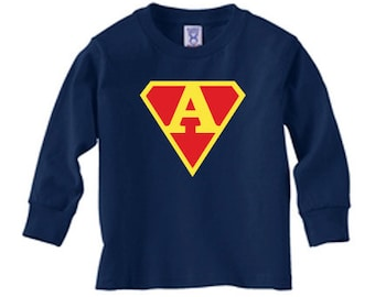 Personalized superman initial long sleeve t-shirt for boys