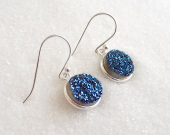 Blue Druzy Sterling Silver Titanium Earrings Crystal Dangle Quartz Round Circle Drops Free Shipping Jewelry